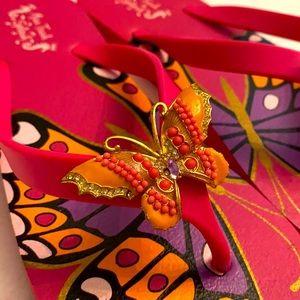 Miss Trish Splash Butterfly Flip Flop Sandals
